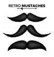 black hair mustaches vintage facial vector image