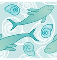 Seamless background with sharks vector image
