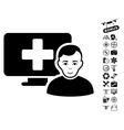 Online Medicine Icon With Flying Drone Tools Bonus vector image