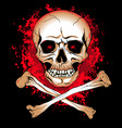 skull with glowing eyes and bones blood spots vector image