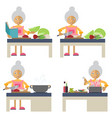 an old woman cooking vector image vector image