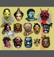 asian masks vector image vector image