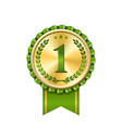 award ribbon gold icon number first design winner vector image vector image