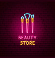 beauty store neon label vector image vector image