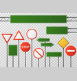 blank street traffic and road signs set vector image vector image