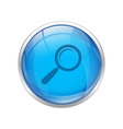 blue magnifying glass button vector image vector image