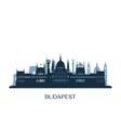 budapest skyline monochrome silhouette vector image vector image