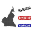 cameroon map in halftone dot style with grunge vector image