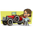 cartoon girl character with retro convertible car vector image vector image