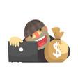 cartoon hacker character stealing money bag cybe vector image
