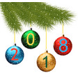 christmas background with fir branch and balls on vector image vector image