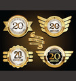 collection anniversary golden retro vintage vector image vector image