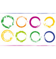 colorful bundle with rainbow circle frames grunge vector image vector image
