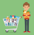 consumer with shopping cart of groceries vector image