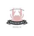 crab hand drawn logo isolated on white background vector image vector image