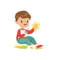 cute boy utting an application details kids vector image vector image