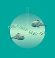 Deep sea card vector image