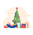 excited surprised man in santa claus hat opening vector image