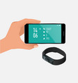 fitness bracelet or tracker with a smartphone vector image vector image