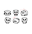 friendly and cute pandas set chinese bear icons vector image vector image