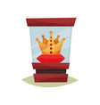 golden crown with red gems on pedestal under glass vector image vector image
