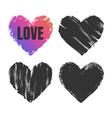 hand drawn grunge hearts set vector image