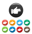 hand forward icons set color vector image vector image
