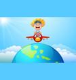 happy kid boy riding a plane vector image