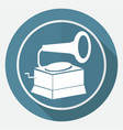 icon old gramophone on white circle with a long vector image vector image