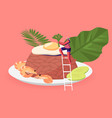 indonesian cuisine tiny woman near traditional vector image