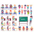 isolated students sitting at desks and teacher vector image vector image