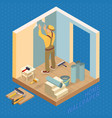 isometric interior repairs concept builder pastes vector image
