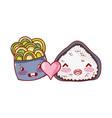 kawaii rice roll and salad love food japanese vector image vector image