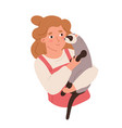kid holding furry ferret in hand happy smiling vector image vector image