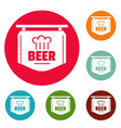 label of beer icons circle set vector image vector image