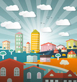 Landscape Town or City in Flat Design Retro Style vector image vector image