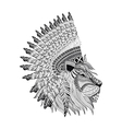 Lion face with feathered war bannet in zentangle vector image