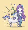 little mermaid with unicorn art cartoon vector image vector image