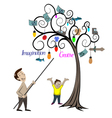 man and child looking at the tree vector image vector image