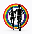 man and woman running together people run vector image