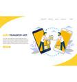media transfer website landing page design vector image vector image