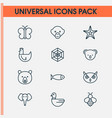 nature icons set with bee seafood spider web and vector image
