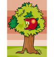 nibbled apple on tree cartoon vector image vector image
