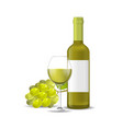realistic detailed 3d wine bottle bunch of grapes vector image