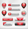 Red Glossy Web Elements Button Set