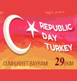 republic day turkey congratulation poster vector image