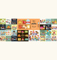 school lunch set composition of posters with vector image