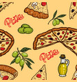 seamless pattern with pizza and olives design vector image vector image
