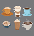 set coffee drinks in cups collection vector image