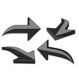 set of black 3d shiny arrows vector image vector image